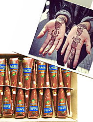 12 Natural Herbal Henna Cones Temporary Tattoo Kit Body Art Mehandi Ink Kaveri