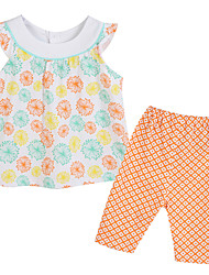Girl's Orange Clothing Set Cotton Summer / Spring
