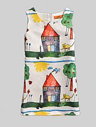 Girl's White Dress,Print Polyester Summer / Spring