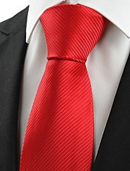 New Classic Striped Scarlet Red Men Tie Necktie Wedding Party Holiday Gift #0021