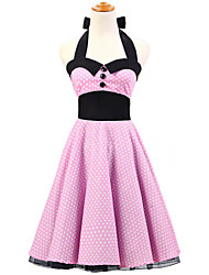 50s Era Vintage Style Halterneck Buttons Rockabilly Dress Cosplay Costume Pink White Mini Polka Dot (with Petticoat)