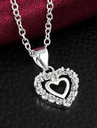 "Noble Sweetheart  Double ""Heart"" CZ Stone Silver Necklace Pendant For Women"