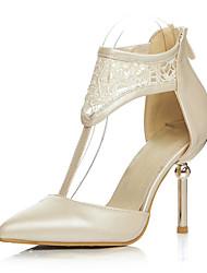 Wedding Shoes-Saltos-Saltos / Bico Fino-Preto / Bege-Feminino / Para Meninas-Social / Festas & Noite