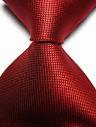 Cravatta rossa rossa controllata jacquard tessuta degli uomini