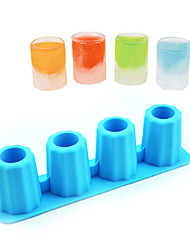 4-Cup Shape Rubber Shooters Ice Cube Shot Glass Freeze Mold Maker Tray Party (Random Color)