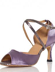 Women's Dance Shoes Latin / Jazz / Swing Shoes / Salsa / Samba Satin Heel Green / Purple Sandals Customizable