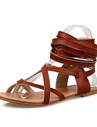 Women's Shoes Flat Heel Gladiator Sandals Outdoor / Dress / Casual Black / Brown / White