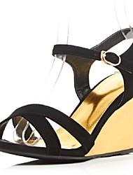 Zapatos de mujer-Tacón Cuña-Cuñas-Sandalias-Oficina y Trabajo / Vestido / Fiesta y Noche-Cachemira-Negro