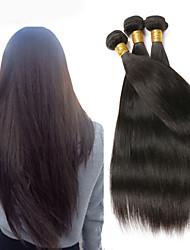 "4 Bundles 8""-26""Brazilian Straight Virgin Hair Unprocessed Wefts Natural Black 1B# Human Hair"