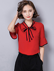 Women's Casual/Daily Boho Summer Blouse,Color Block Bow ½ Length Sleeve Red / White / Black Polyester Medium
