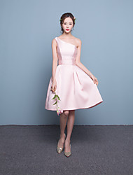 Short / Mini Satin Bridesmaid Dress Fit & Flare One Shoulder with
