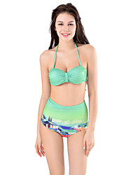 Women's Bandeau Bikinis with High Waist Bottom Design