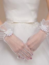 Até o Pulso Com Dedos Luva Tule Luvas de Noiva / Luvas de Festa Floral