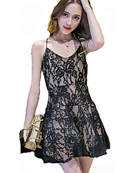 Women's Flower Lace Straps Cross Halter Dress