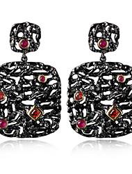 New Arrive Women's Luxury Unique Vintage Drop Earrings Black & Gold Contrast Siam Fuchsia CZ Drop Earrings