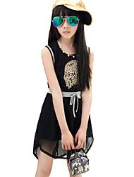 Menina de Vestido Algodão Verão Preto / Branco