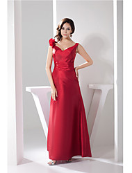 Formal Evening Dress A-line Straps Floor-length Taffeta with Flower(s)