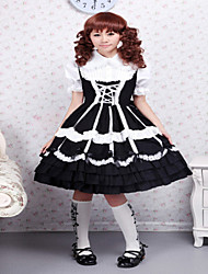 Steampunk® Cotton Black Lace Ties Gothic Lolita Dress OP