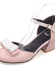 Chaussures Femme-Habillé / Décontracté / Soirée & Evénement-Noir / Rose / Blanc-Gros Talon-Talons / Bout Arrondi-Talons-Similicuir