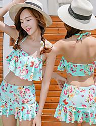 Women's Bandeau Bikinis / Tankinis,Floral Padded Bras Spandex Beige / Blue