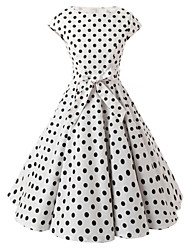 Women's Cap Sleeves White Polka Dot Dress , Vintage Cap Sleeves 50s Rockabilly Swing Dress