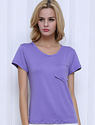 Women's Solid Street chic Simple Style Casual All Match Pocket T-shirt,V Neck Short Sleeve More Colors Can Available