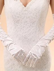 Opera Length Fingertips Glove Elastic Satin Bridal Gloves / Party/ Evening Gloves Spring / Summer / Fall / Winter Pleated