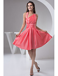 Knee-length Taffeta Bridesmaid Dress A-line One Shoulder with Side Draping