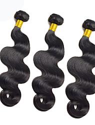 3Bundles color natural de la onda del cuerpo del pelo malasio 8-26inch cabello humano virginal teje