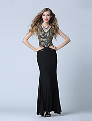 Formal Evening Dress Trumpet / Mermaid V-neck Ankle-length Tulle / Sequined with Sequins