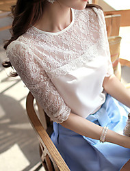 Women's Solid White Blouse,Round Neck ½ Length Sleeve