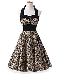 50s Era Vintage Style Halter Neck Buttons Rockabilly Dress Cosplay Costume Leopard Print (with Petticoat)