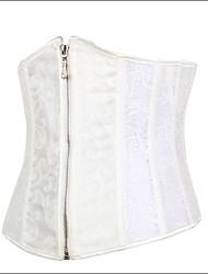 Shaperdiva Women's Sexy Elegent Steel Boned Waist Cincher Corset with Zipper Front