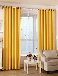 Two Panels Solid Living Room Cotton Blackout Curtains Drapes