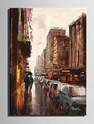 Mini Size E-HOME Oil painting Modern Street In The Rain Pure Hand Draw Frameless Decorative Painting