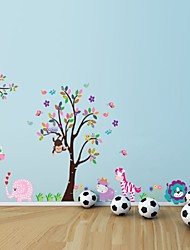 Cartoon Animal Forest Wall Stickers Decals For Nursery And Kids Room Home Decor