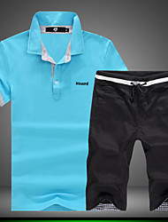 Men's Short Sleeve Set,Cotton / Spandex Print