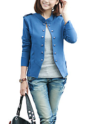 New Arrival Women's Solid Blue / Black / Green Jackets , Vintage / Street chic Stand Long Sleeve Coat