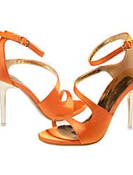 Women's Shoes Silk Stiletto Heel Heels /Sandals Wedding / Office & Career / Party & Evening Black / White / Orange