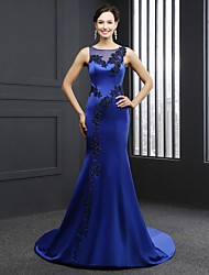 Formal Evening Dress-Royal Blue Trumpet/Mermaid Jewel Chapel Train Satin