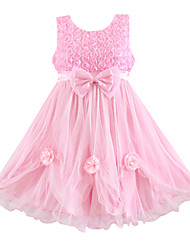 Girl's Flower Bow Lace Party Dress Wedding Pageant Bridesmaid Princess Dresses