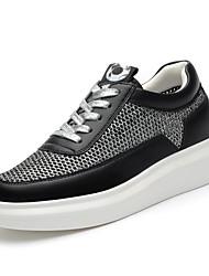 Scarpe Donna-Sneakers alla moda-Ufficio e lavoro / Casual / Sportivo-Creepers / Comoda-Plateau-Tulle-Nero / Bianco