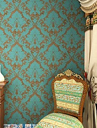 Damascato Carta da parati Retrò Rivestimento pareti,Carta Vintage Green/Bronze Damask Wallpaper