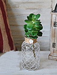 Retro/Artistic/Rustic Glass/Rope Plants Tabletop Artificial Flowers Vase/Flowerpot