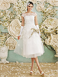 A-line Wedding Dress Tea-length Bateau Tulle with Appliques