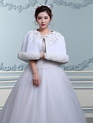 Wedding  Wraps / Fur Wraps / Hoods & Ponchos Capelets Sleeveless Faux Fur White Wedding / Party/Evening Off-the-shoulderButton /