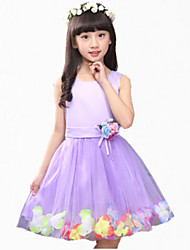 Girl's Pink / Purple Dress,Lace Polyester Summer