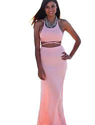 Women's Sexy / Boho Solid Sheath Dress,Halter Maxi Polyester