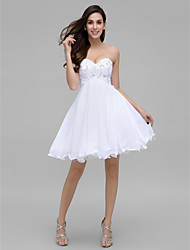 TS Couture® Cocktail Party Dress - White A-line Sweetheart Knee-length Chiffon