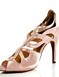 Customizable Women's Dance Shoes Latin / Jazz / Swing Shoes / Salsa / Samba Satin Customized Heel Black / Pink / Red